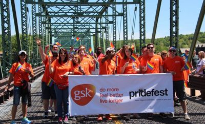 Tracey Fama and GSK march in PRIDE parade