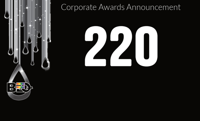 The number 220 to denote the number of companies winning the Excellence Award for 2021